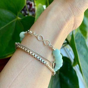 Sky Blue Quartz Sterling Silver Infinity Bracelet